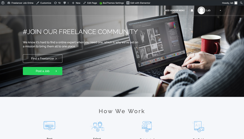 Building and Customizing WPFreelance Theme - Homepage