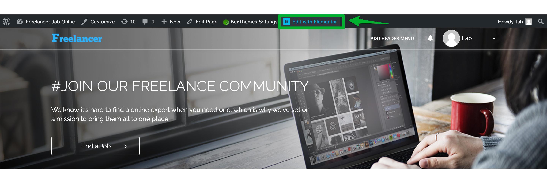 Building and Customizing WPFreelance Theme - Edit with Elementor
