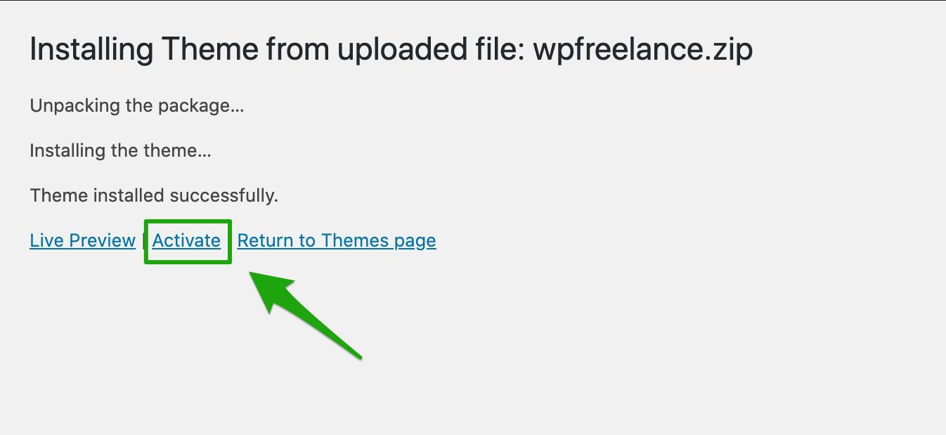 Installing WPFreelance Theme - Activate theme