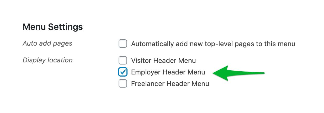 Set Up Header and Footer Menus using Menus and Widgets - Choose location
