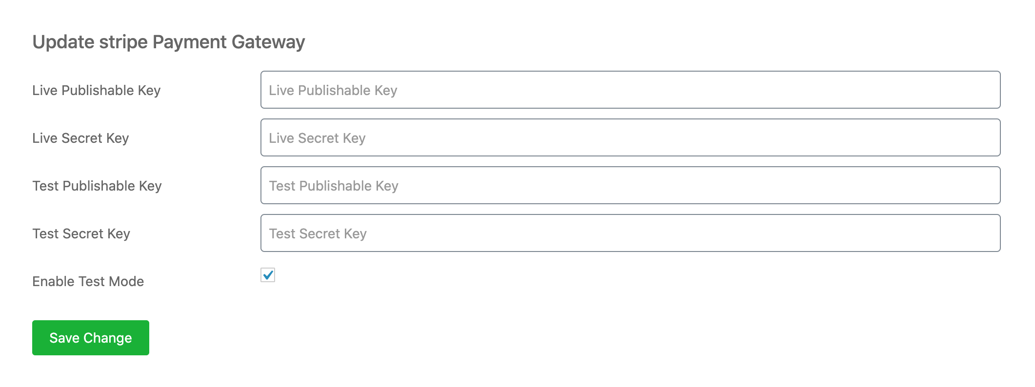 Set up Stripe Payment in WPFreelance Theme - Stripe API key input