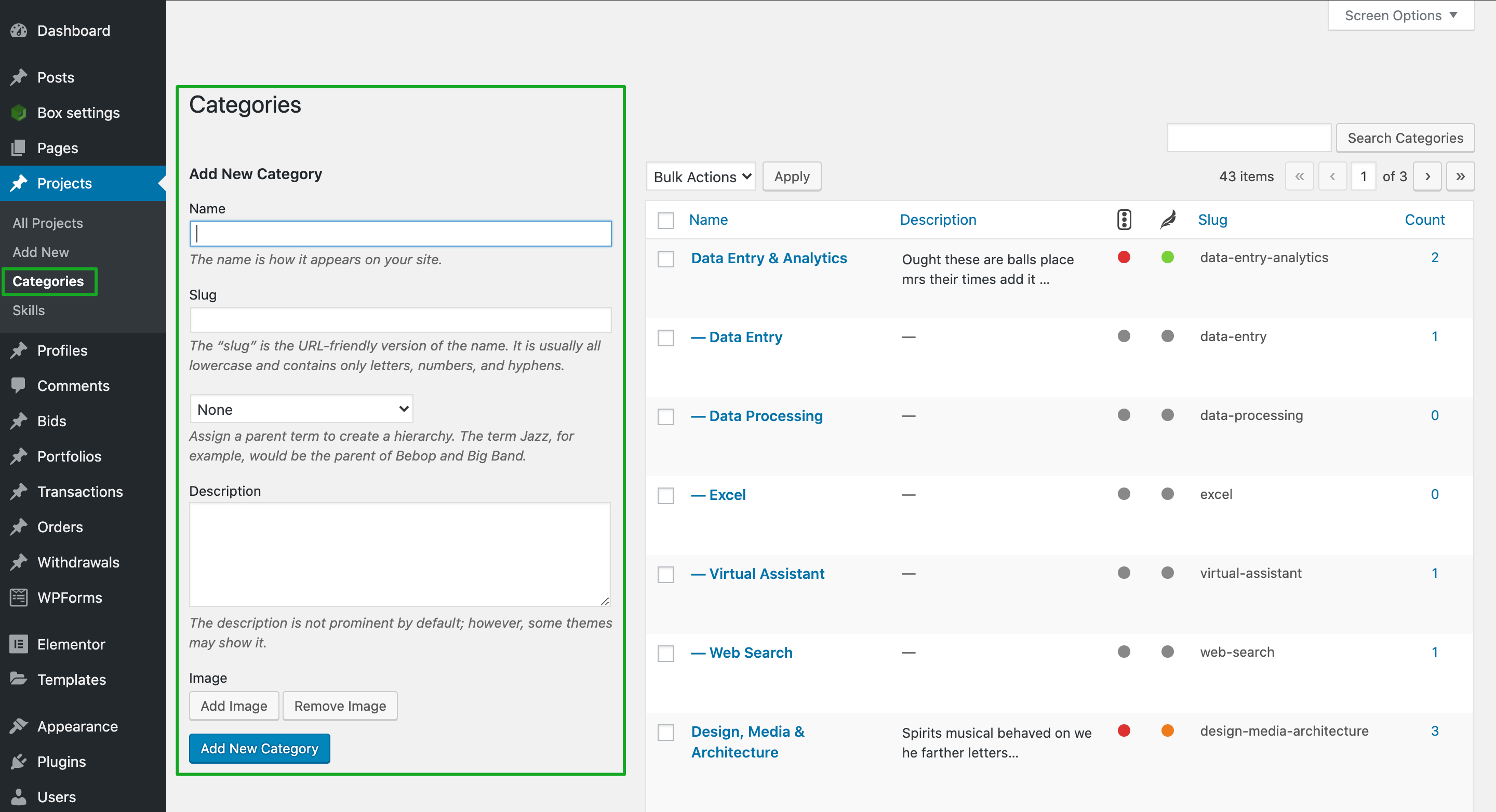 Manage Projects in WPFreelance Theme - Categories