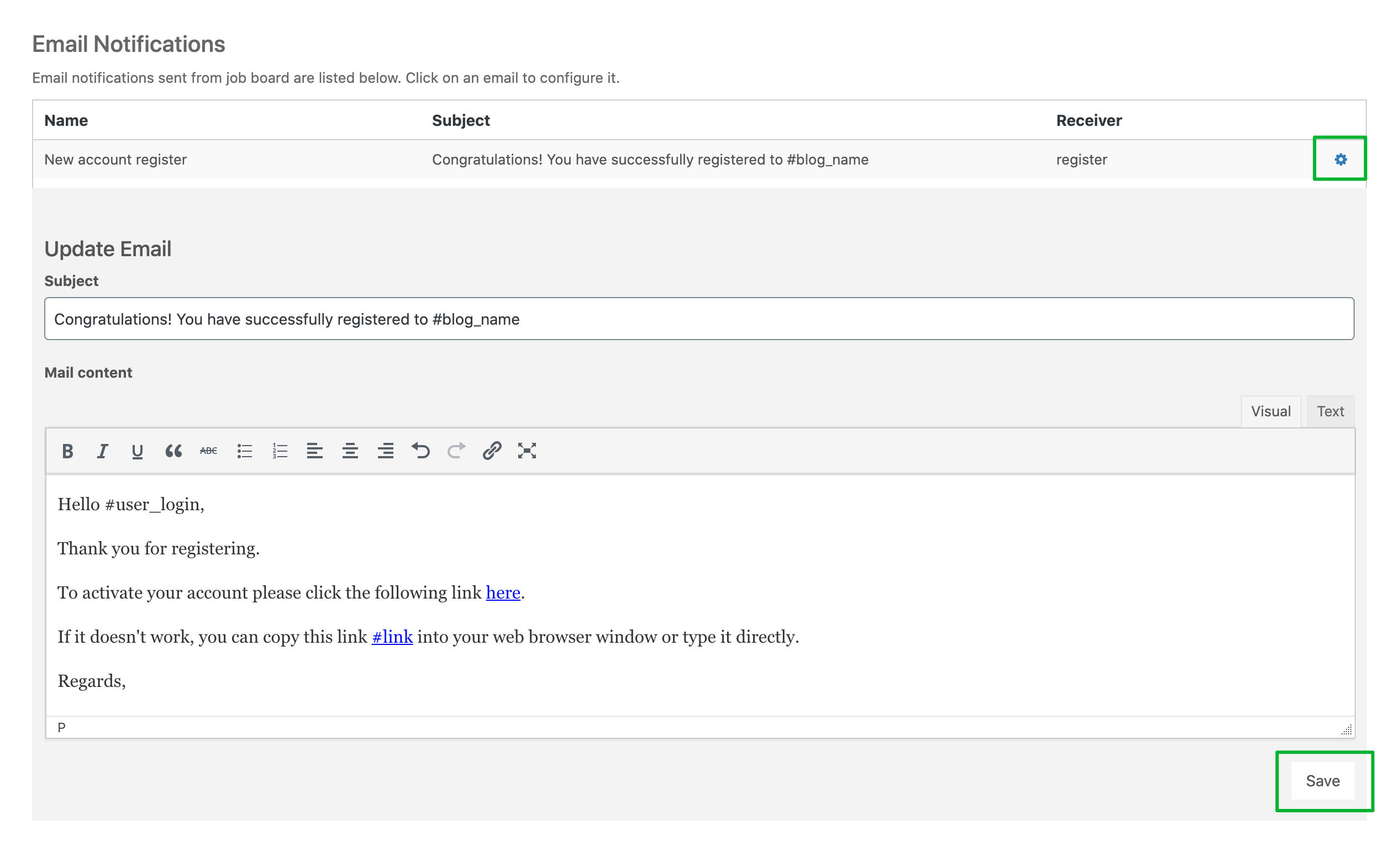 Setting up User Profile in WPFreelance Theme - edit confirmation email