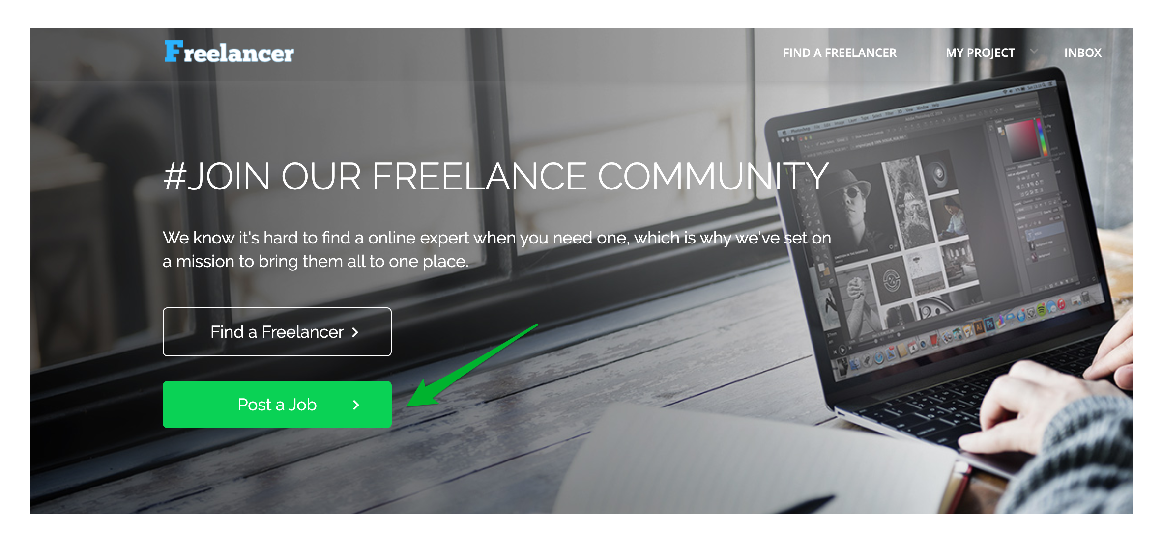 How to Post a Project in WPFreelance Theme - Post a job button