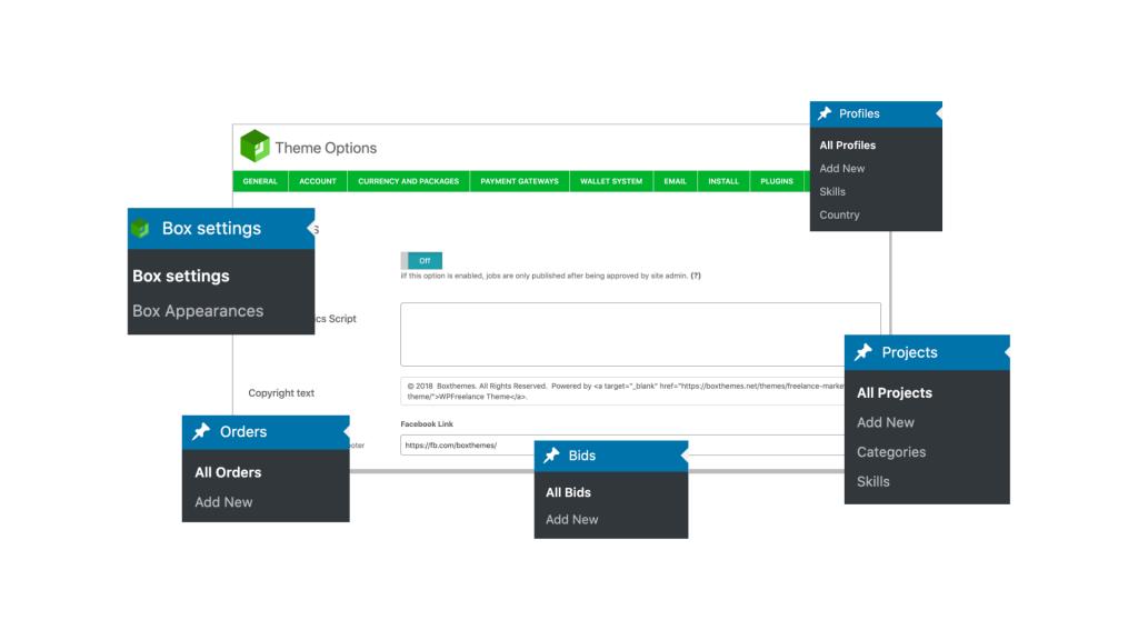 WPFreelance Theme - Website control